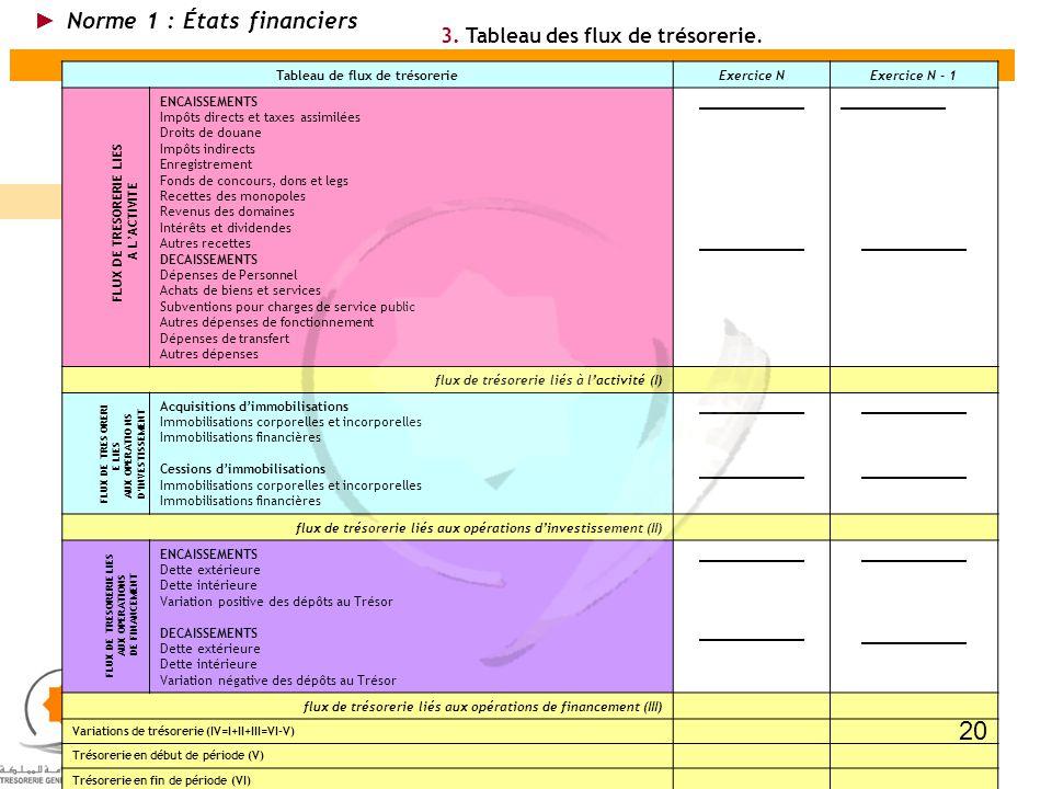 20 Norme 1 : États financiers 3. Tableau des flux de trésorerie.