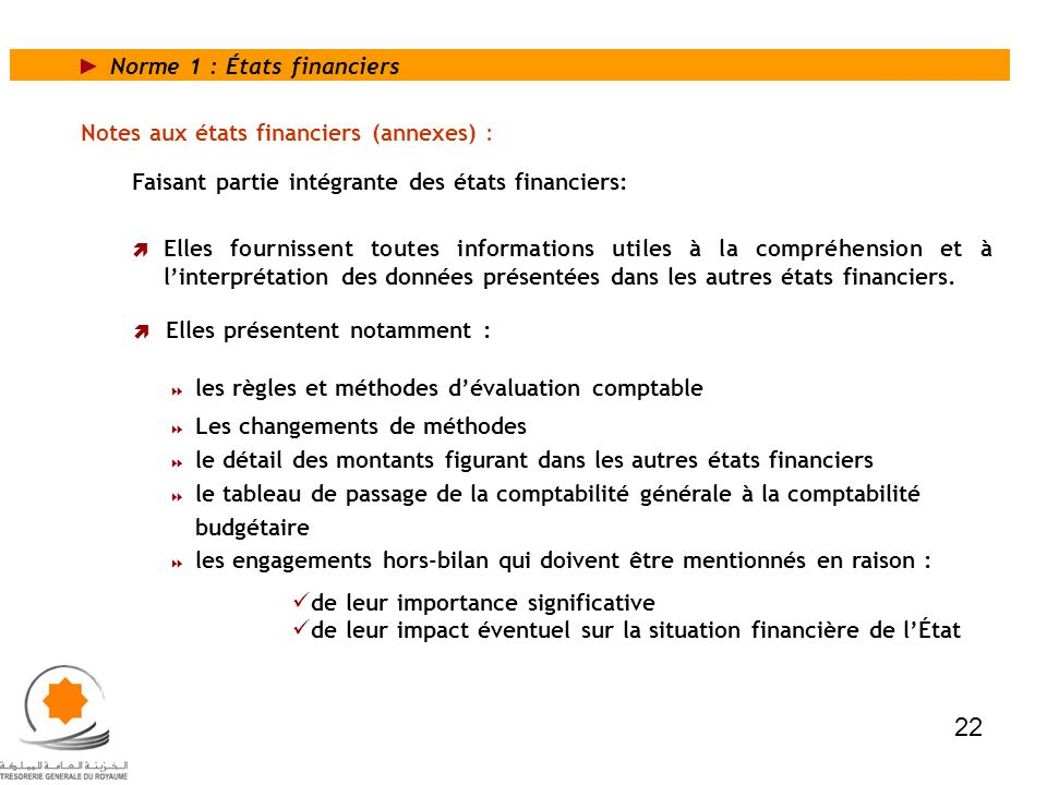 22 Norme 1 : États financiers Notes aux états financiers (annexes) :