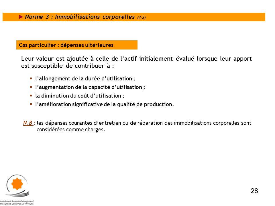 28 Norme 3 : Immobilisations corporelles (3/3)