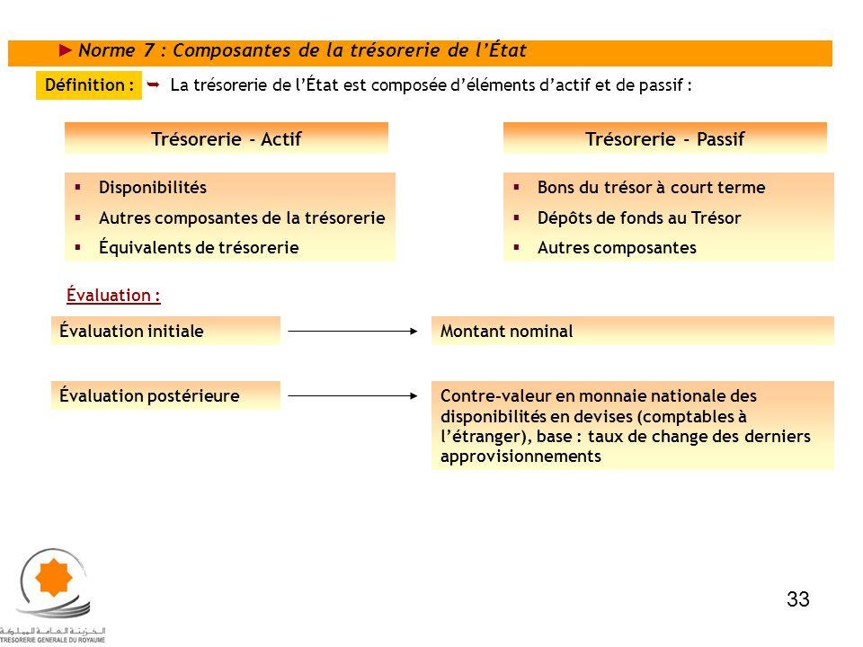 33 Norme 7 : Composantes de la trésorerie de l'État Trésorerie - Actif
