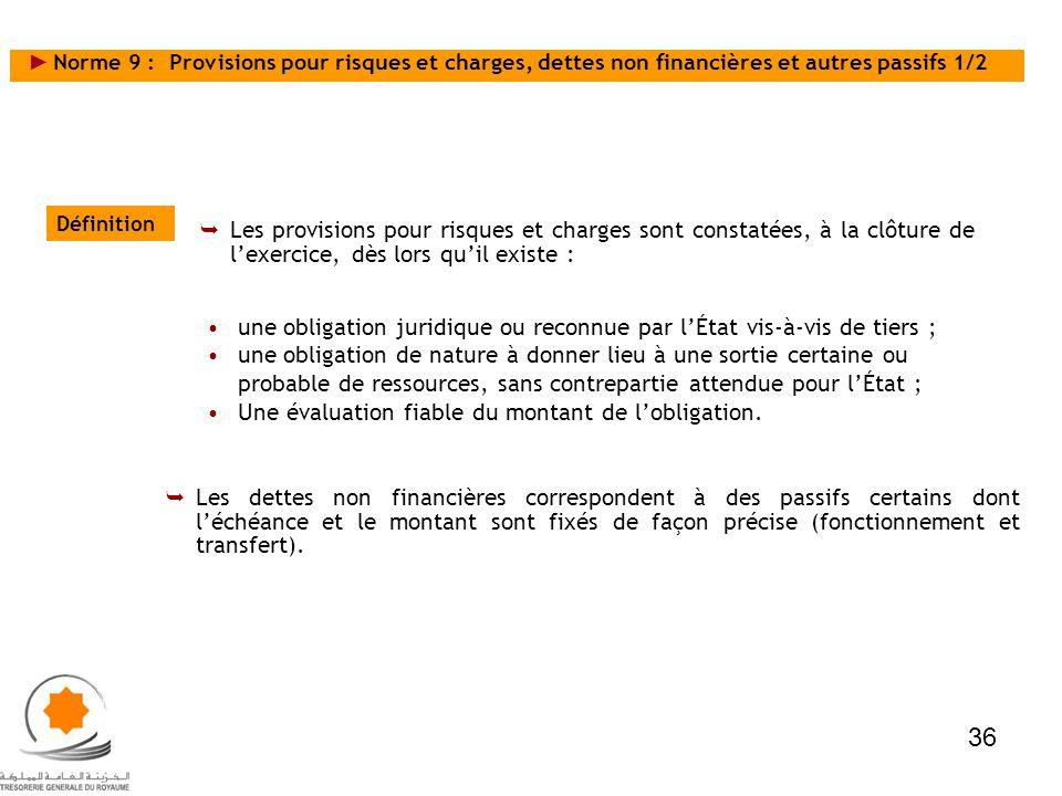 Norme 9 : Provisions pour risques et charges, dettes non financières et autres passifs 1/2