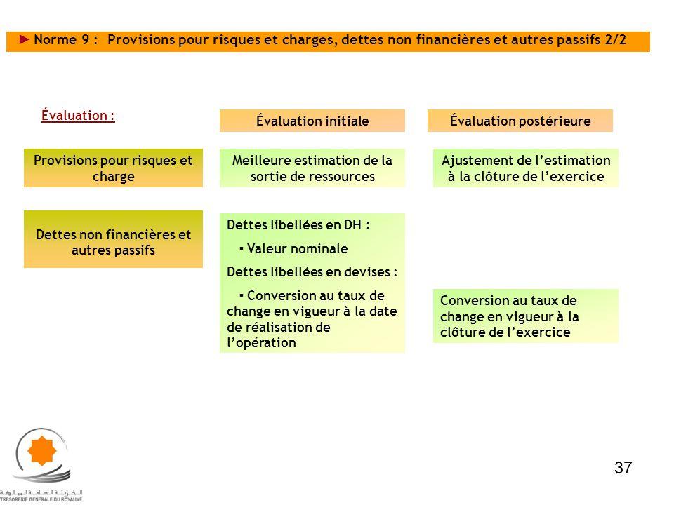 Norme 9 : Provisions pour risques et charges, dettes non financières et autres passifs 2/2