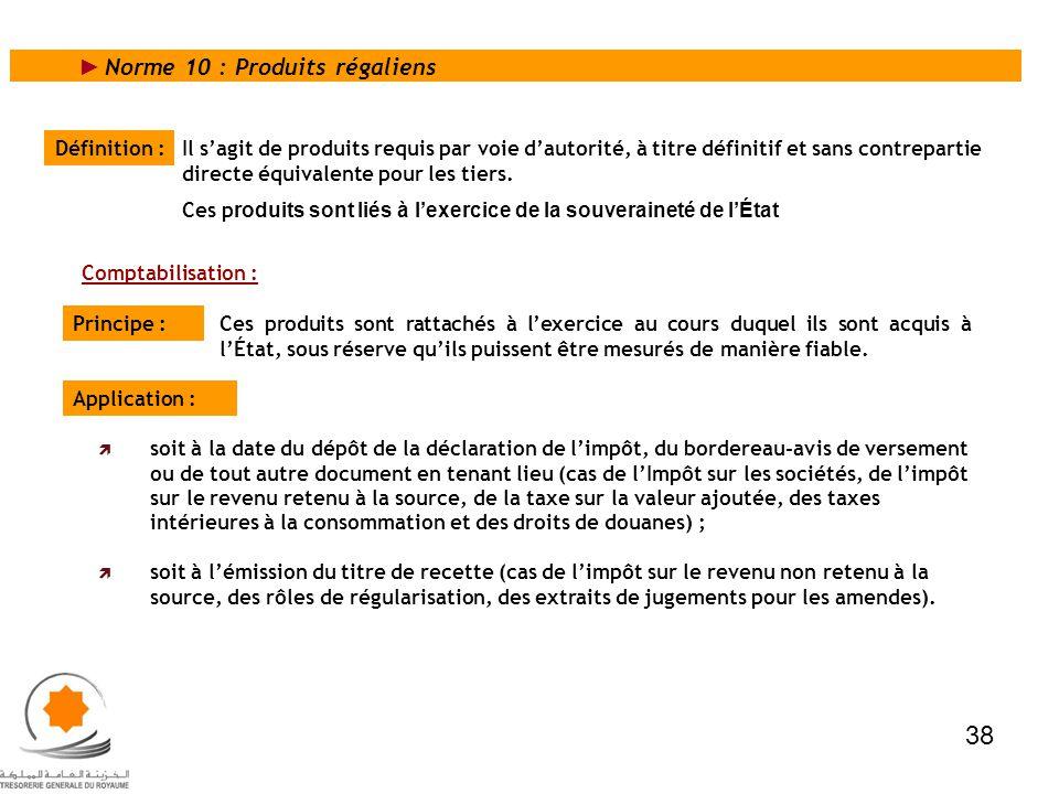 38 Norme 10 : Produits régaliens Définition :