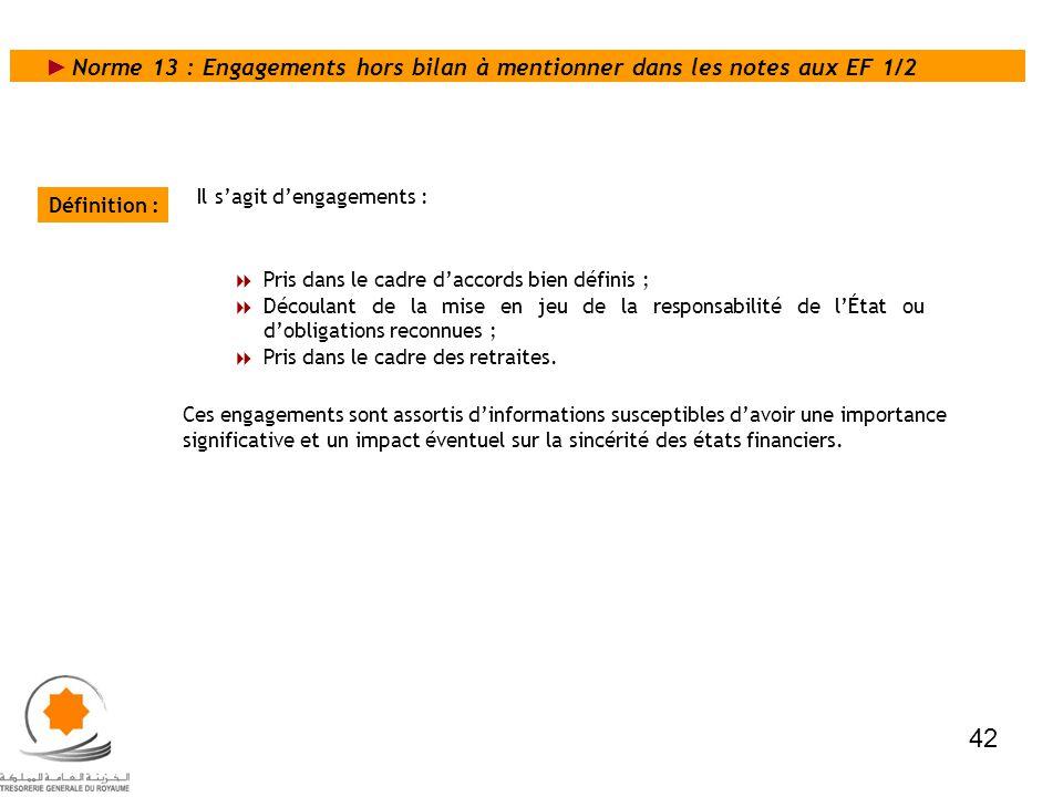 Norme 13 : Engagements hors bilan à mentionner dans les notes aux EF 1/2
