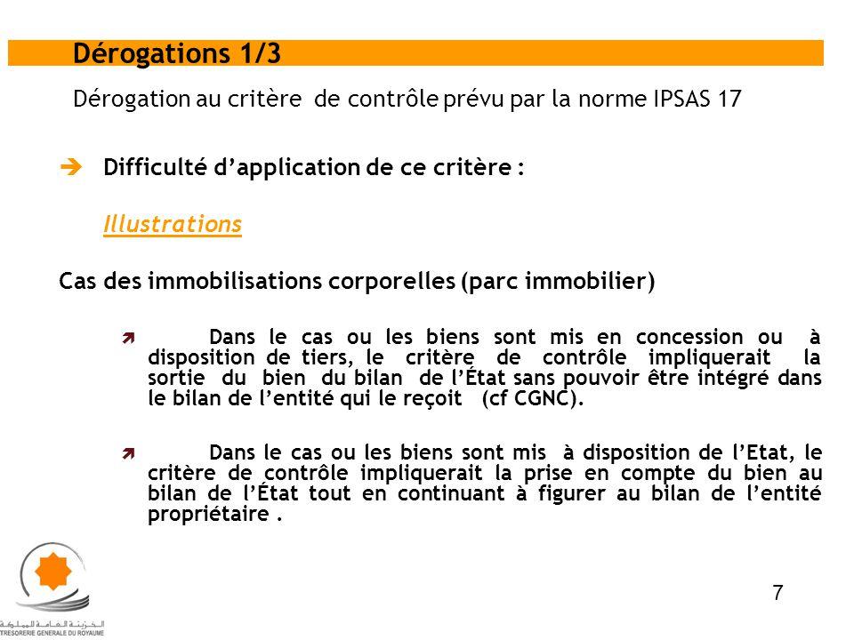 Dérogation au critère de contrôle prévu par la norme IPSAS 17