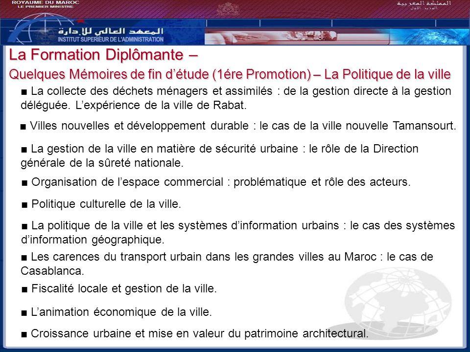 La Formation Diplômante – Quelques Mémoires de fin d'étude (1ére Promotion) – La Politique de la ville