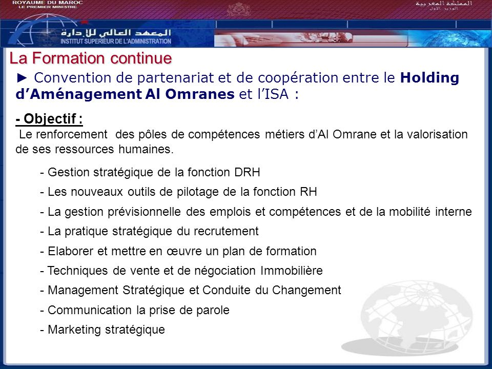 Bilan - Perspectives La Formation continue
