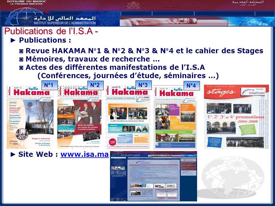 Bilan - Perspectives Publications de l'I.S.A - ► Publications :