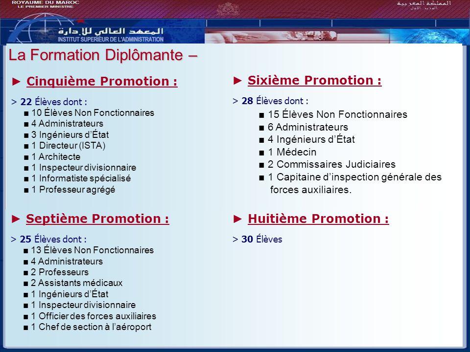 Bilan - Perspectives La Formation Diplômante – ► Cinquième Promotion :