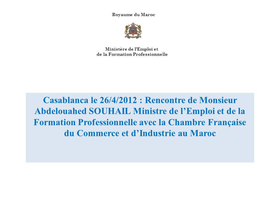 Royaume du Maroc Ministère de l'Emploi et. de la Formation Professionnelle.