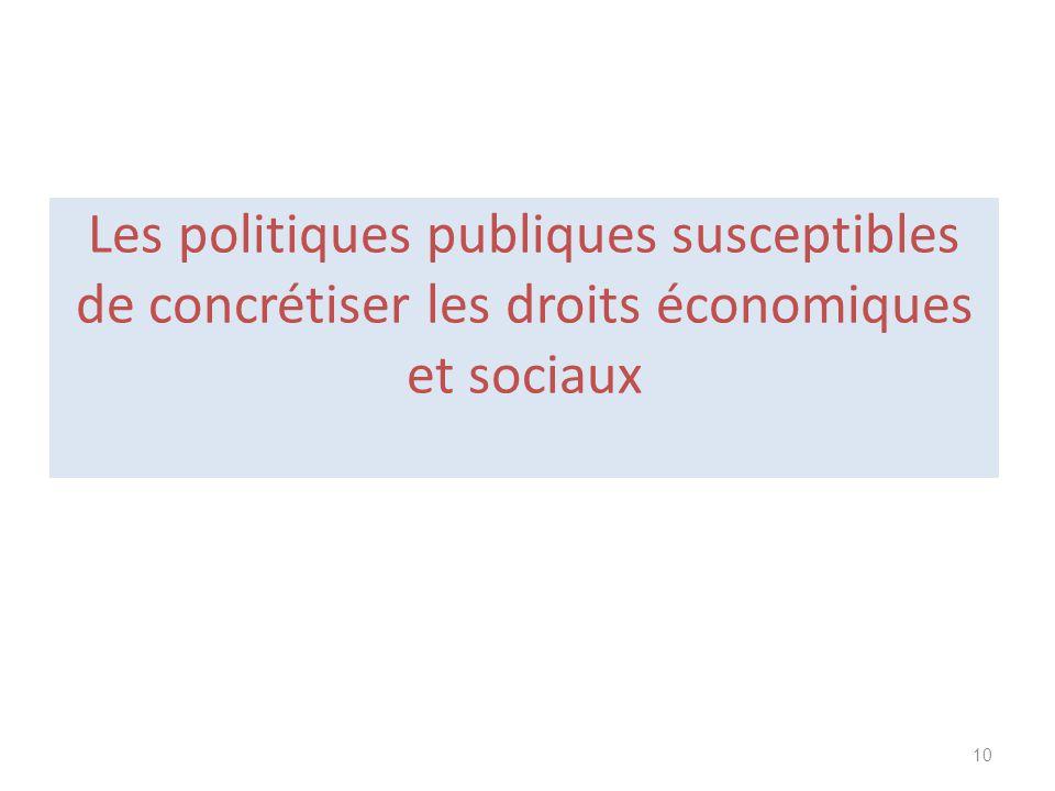 Les politiques publiques susceptibles de concrétiser les droits économiques et sociaux