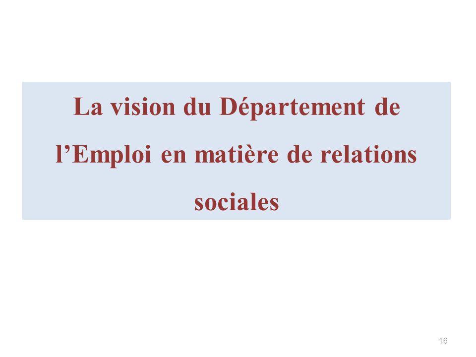 La vision du Département de l'Emploi en matière de relations sociales