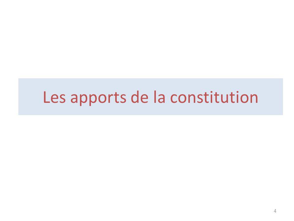 Les apports de la constitution