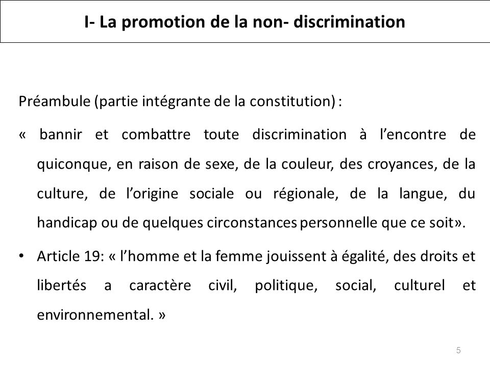 I- La promotion de la non- discrimination