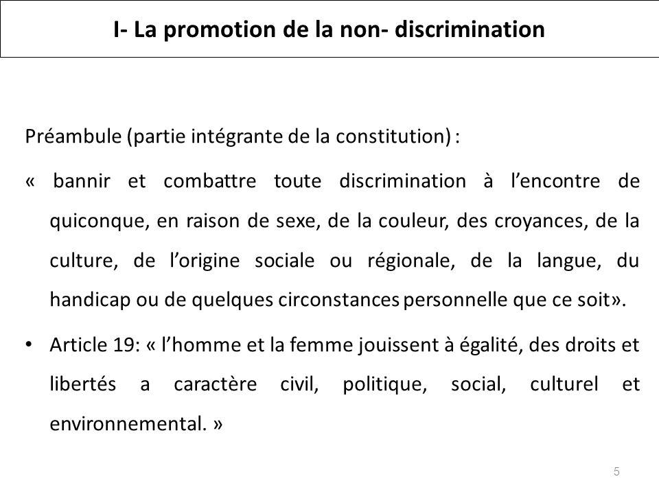 I- La promotion de la non- discrimination