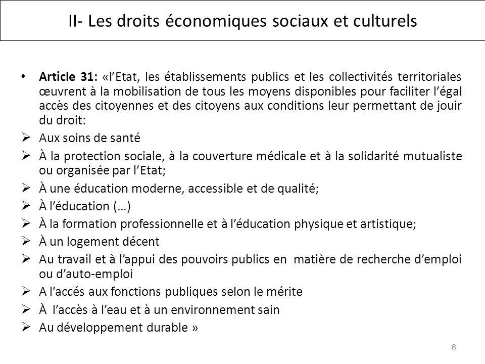 II- Les droits économiques sociaux et culturels