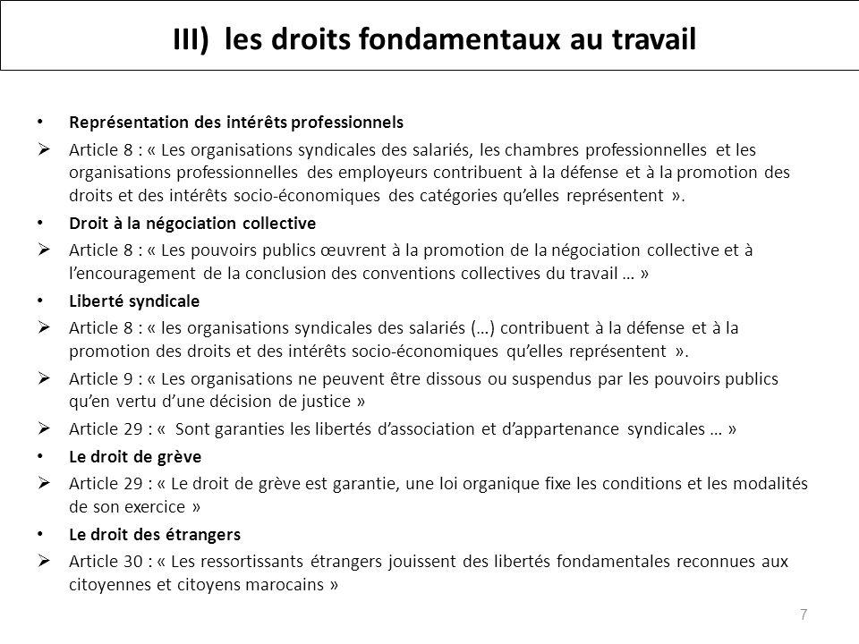 III) les droits fondamentaux au travail