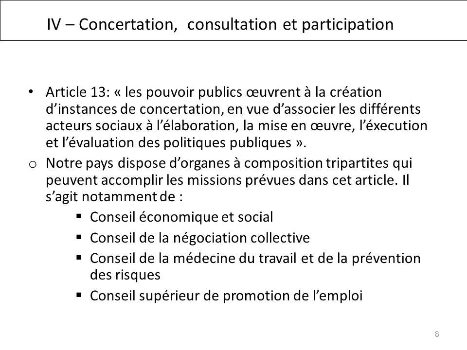 IV – Concertation, consultation et participation