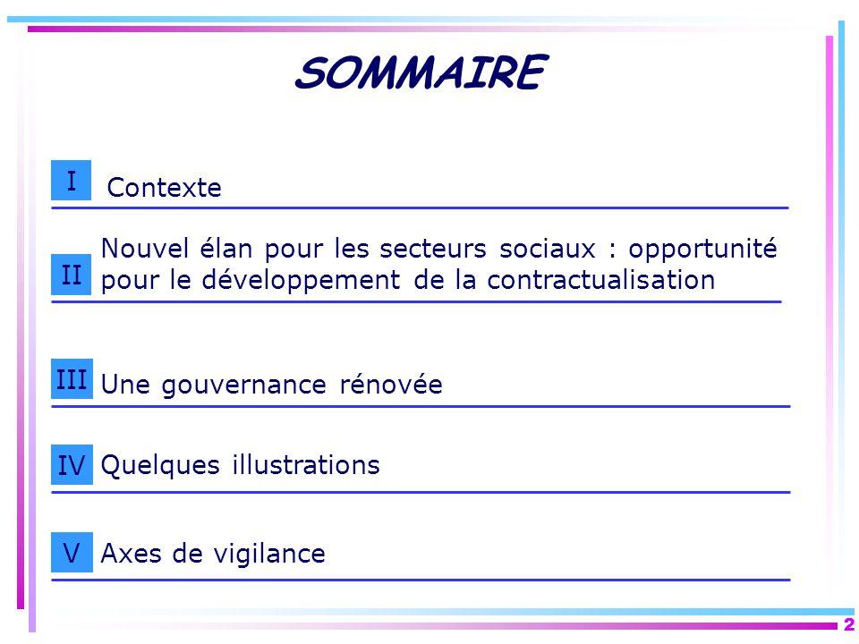 SOMMAIRE I. Contexte. Nouvel élan pour les secteurs sociaux : opportunité pour le développement de la contractualisation.