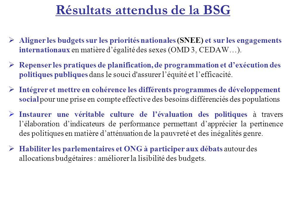 Résultats attendus de la BSG