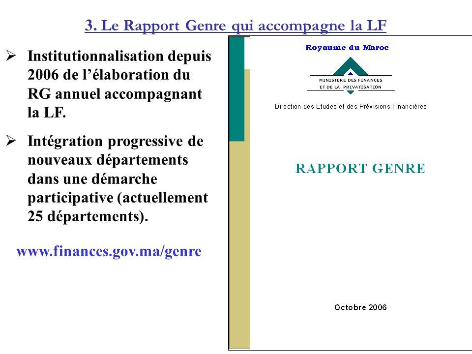 3. Le Rapport Genre qui accompagne la LF