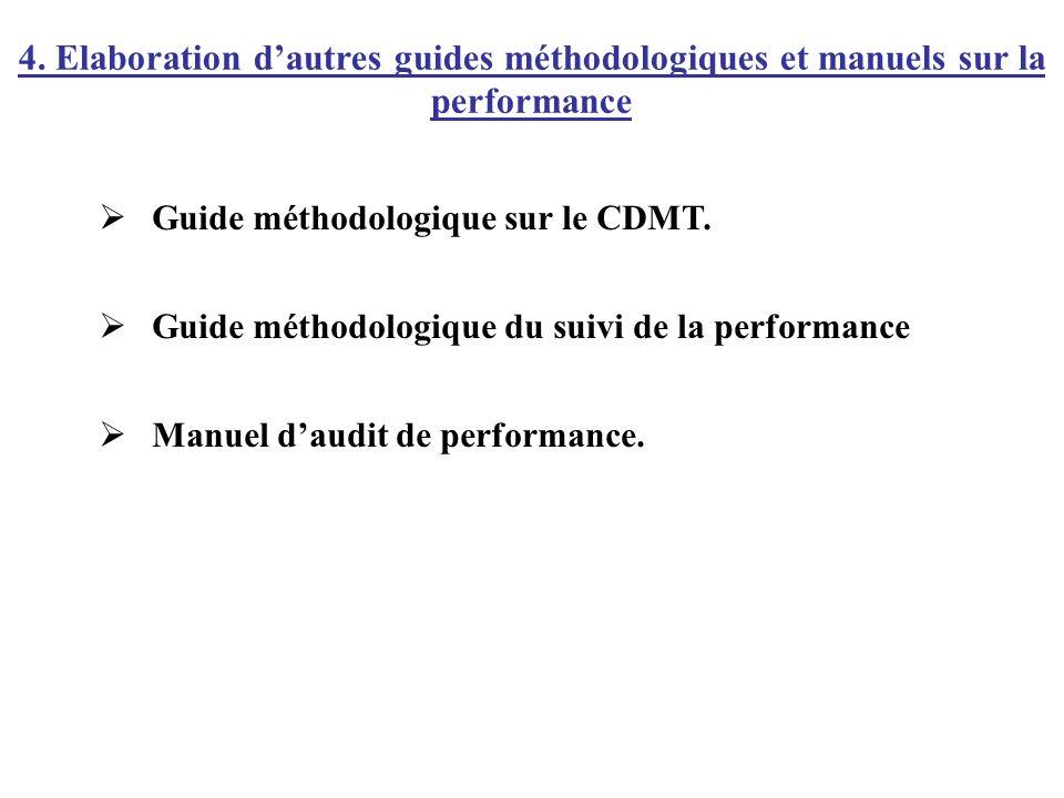 4. Elaboration d'autres guides méthodologiques et manuels sur la performance