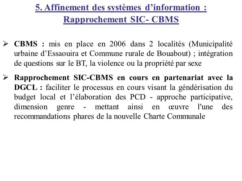 5. Affinement des systèmes d'information : Rapprochement SIC- CBMS