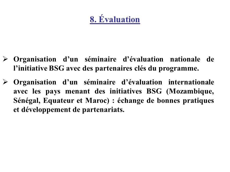8. Évaluation Organisation d'un séminaire d'évaluation nationale de l'initiative BSG avec des partenaires clés du programme.