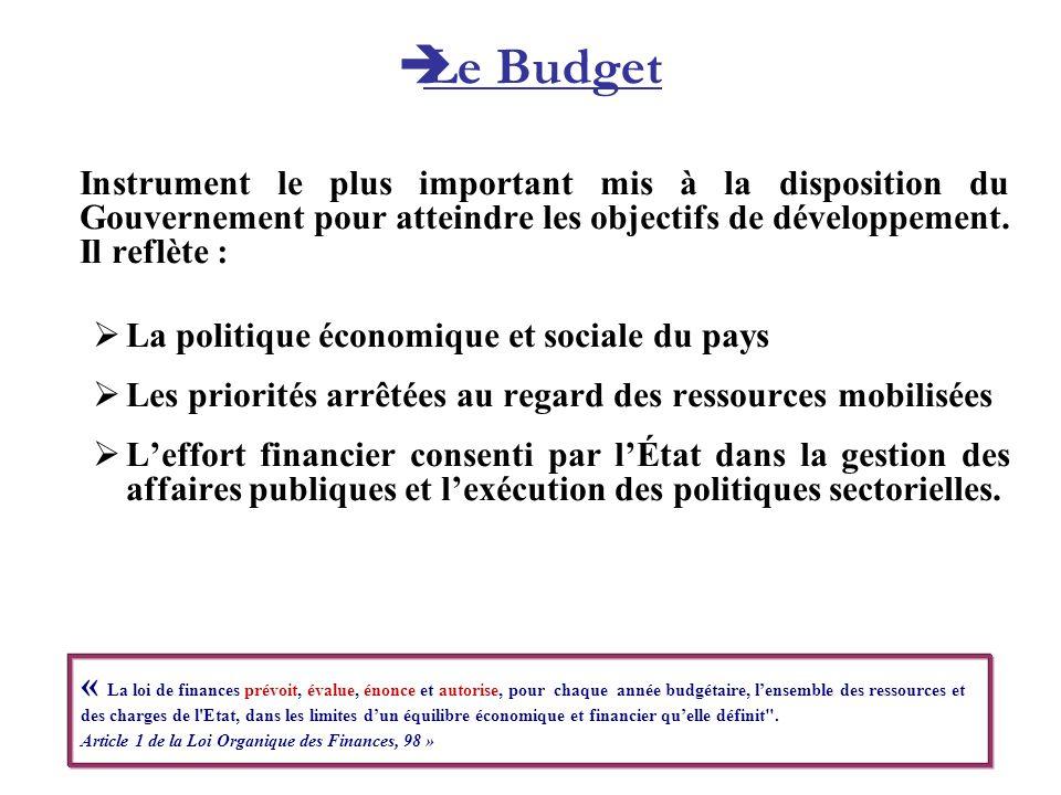 Le Budget Instrument le plus important mis à la disposition du Gouvernement pour atteindre les objectifs de développement. Il reflète :