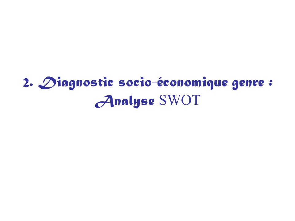 2. Diagnostic socio-économique genre : Analyse SWOT