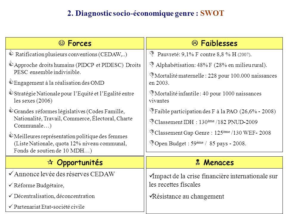 2. Diagnostic socio-économique genre : SWOT