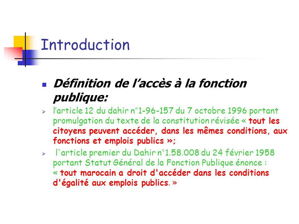 Introduction Définition de l'accès à la fonction publique: