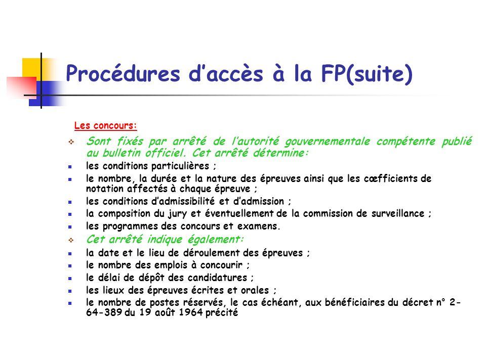 Procédures d'accès à la FP(suite)
