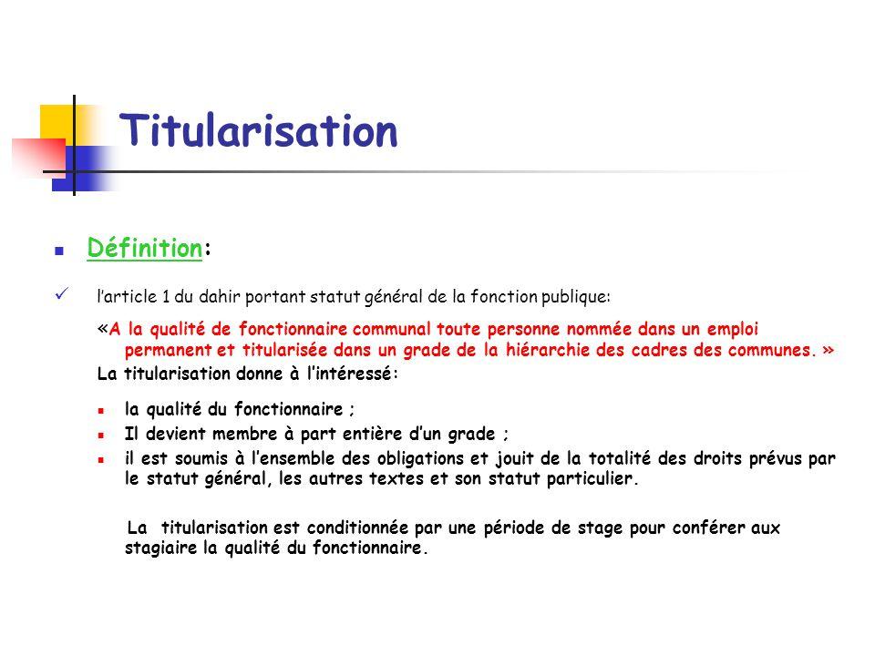 Titularisation Définition: l'article 1 du dahir portant statut général de la fonction publique: