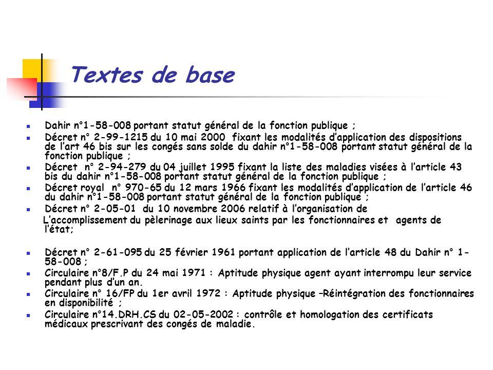 Textes de base Dahir n°1-58-008 portant statut général de la fonction publique ;
