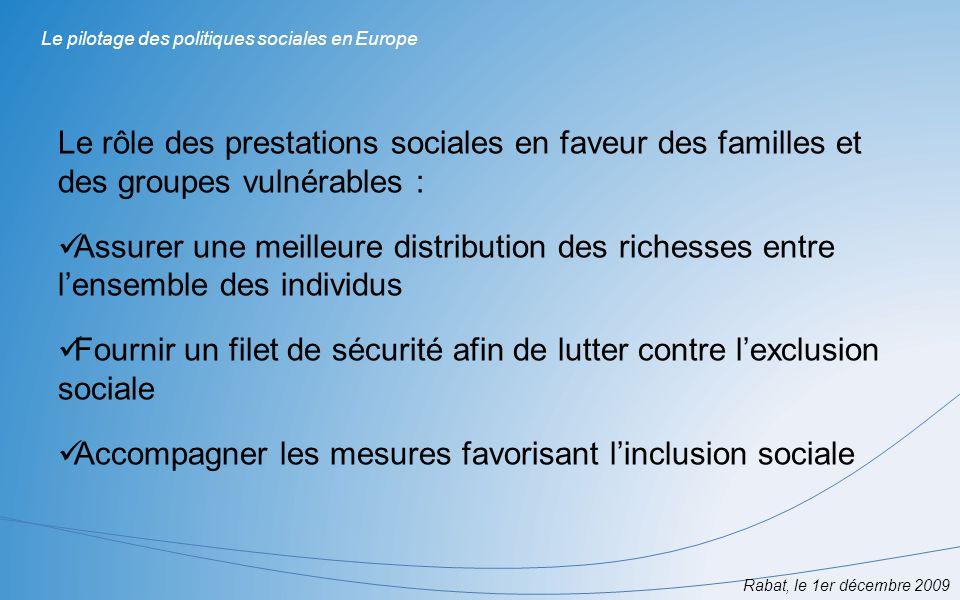 Le pilotage des politiques sociales en Europe