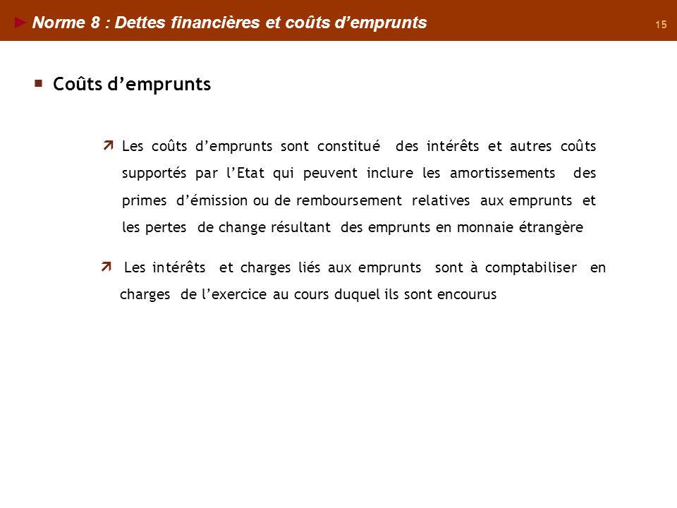 Coûts d'emprunts Norme 8 : Dettes financières et coûts d'emprunts
