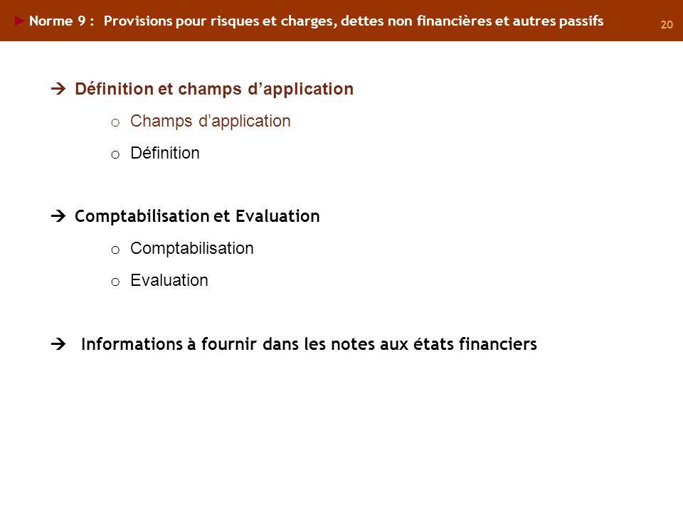 Définition et champs d'application Champs d'application Définition