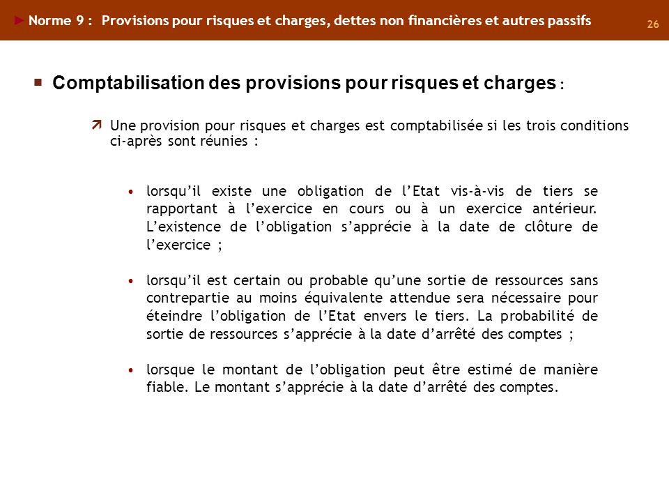 Comptabilisation des provisions pour risques et charges :
