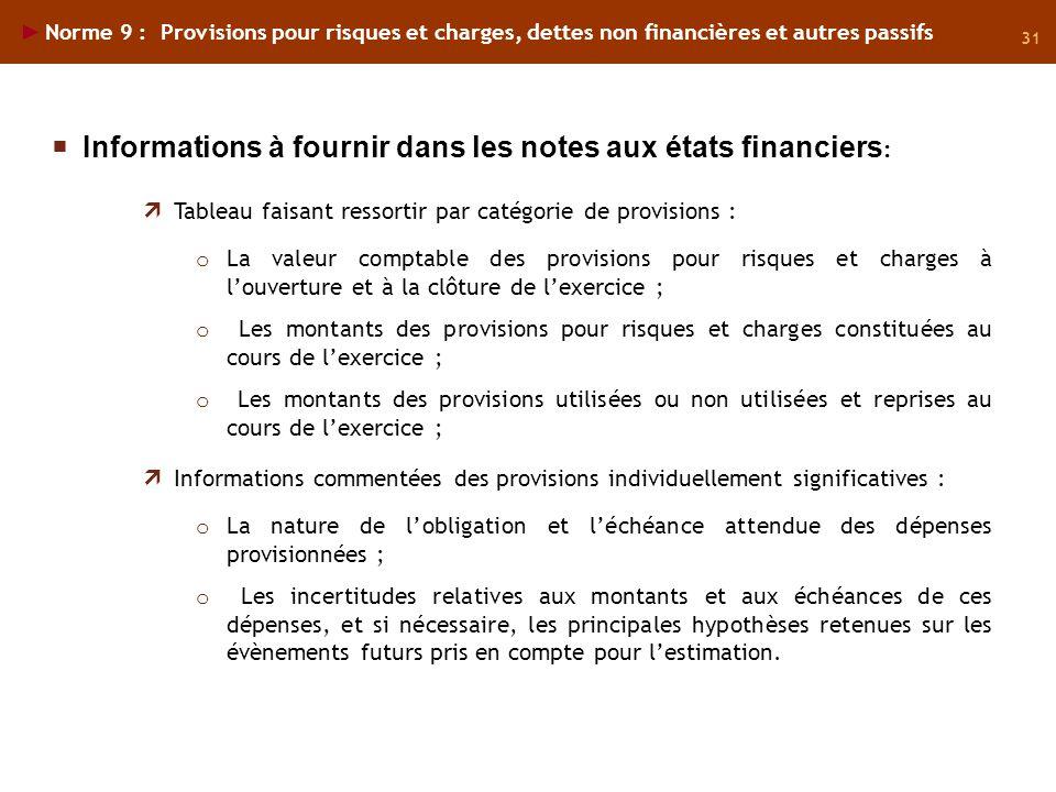 Informations à fournir dans les notes aux états financiers: