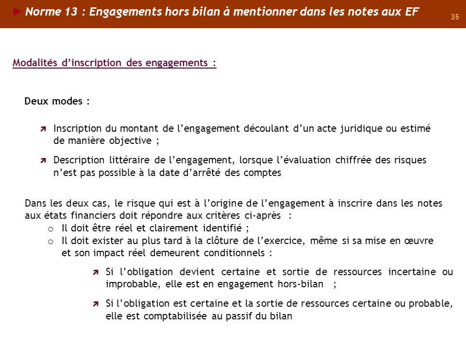 Norme 13 : Engagements hors bilan à mentionner dans les notes aux EF