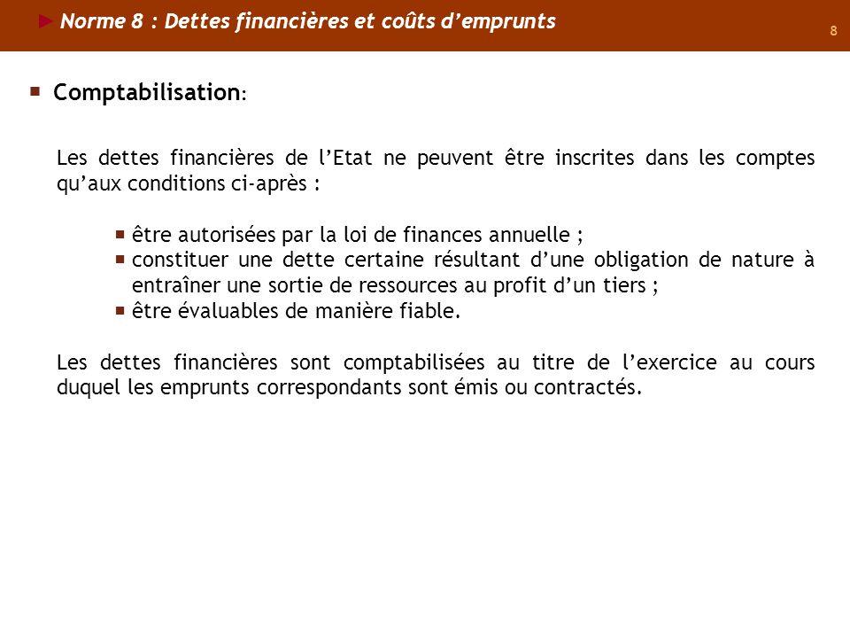 Comptabilisation: Norme 8 : Dettes financières et coûts d'emprunts