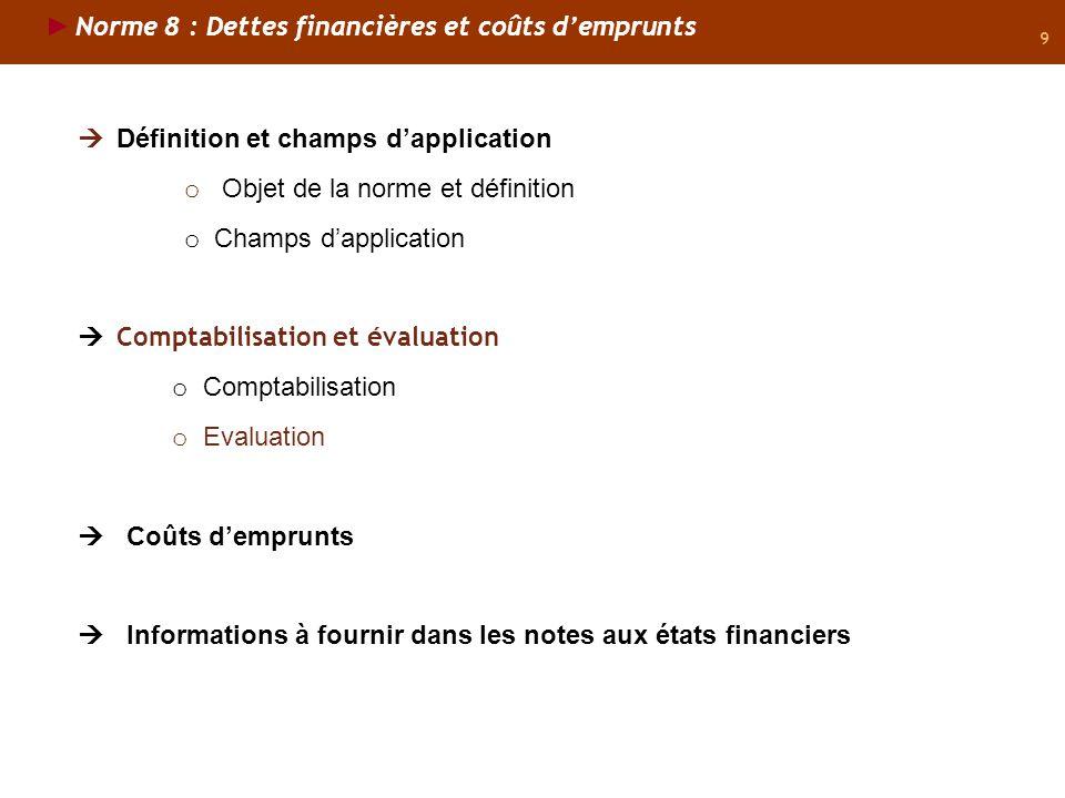 Norme 8 : Dettes financières et coûts d'emprunts