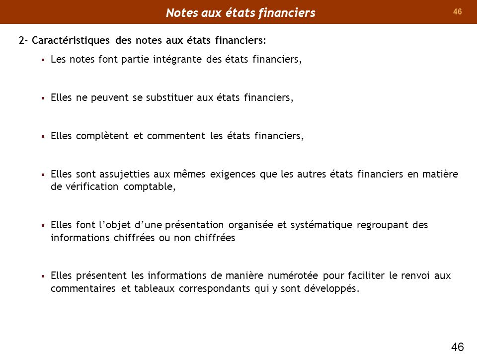 Notes aux états financiers