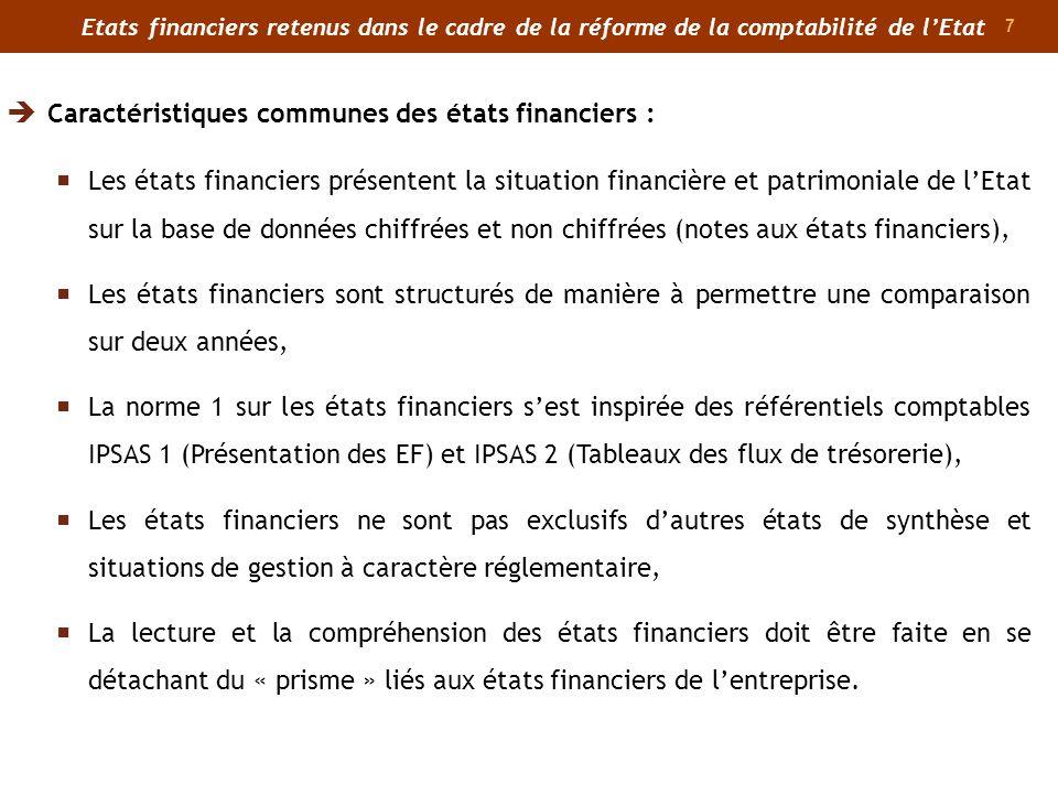 Caractéristiques communes des états financiers :