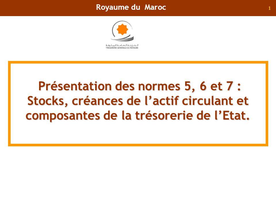 Royaume du Maroc Présentation des normes 5, 6 et 7 : Stocks, créances de l'actif circulant et composantes de la trésorerie de l'Etat.