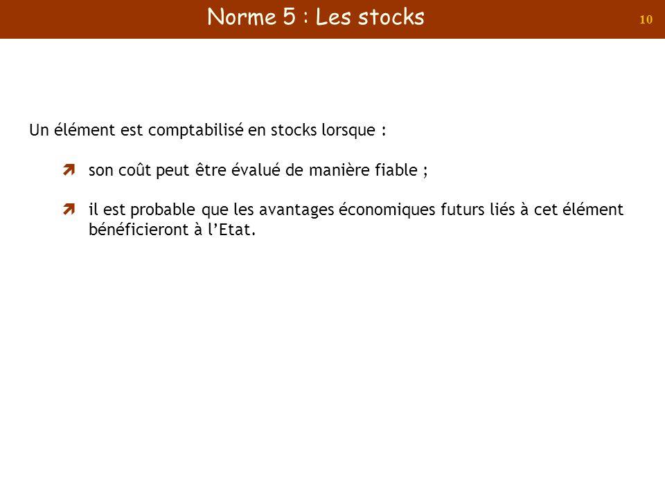 Norme 5 : Les stocks Un élément est comptabilisé en stocks lorsque :