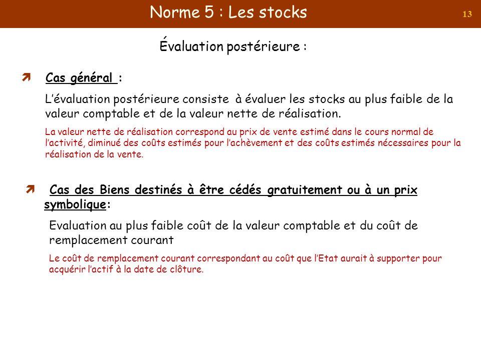 Norme 5 : Les stocks Évaluation postérieure : Cas général :