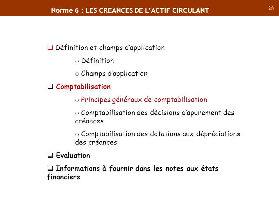 Norme 6 : LES CREANCES DE L'ACTIF CIRCULANT