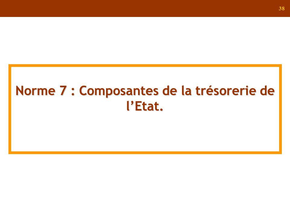Norme 7 : Composantes de la trésorerie de l'Etat.